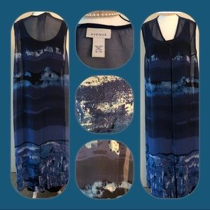 Avenue Sheer Silky Blue Wave Maxi Vest (SZ 18-20)